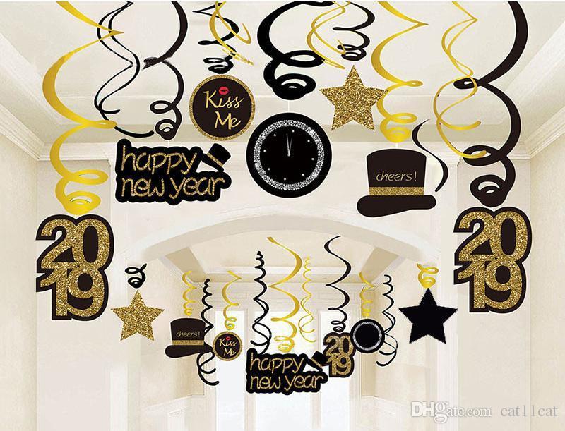 Compre Venta Al Por Mayor 2019 Año Nuevo Decoración Colgando Espirales Remolinos Adornos Feliz Año Nuevo 2019 Regalos Fiesta De Navidad Navidad 2018