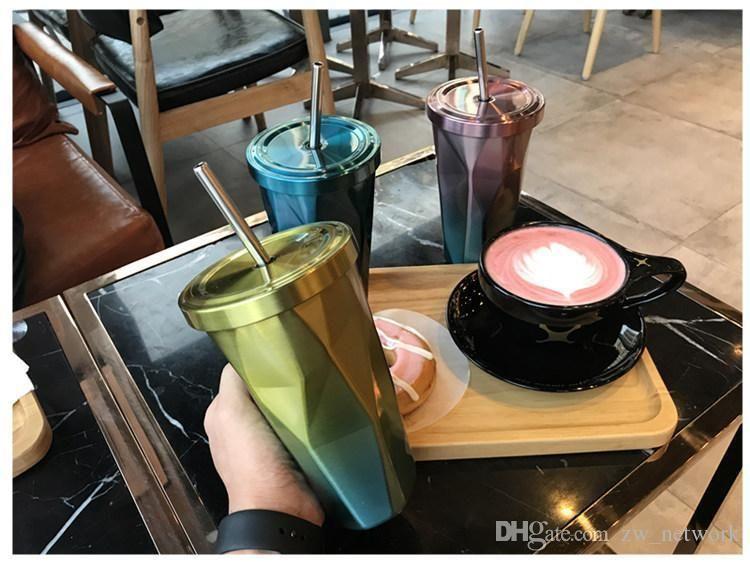 선물 개인 커피 컵 77 500ml의 튜브 컵 불규칙한 마름모 커피 머그컵을 두 번 스테인레스 스틸 빨대 컵 재미 머그컵
