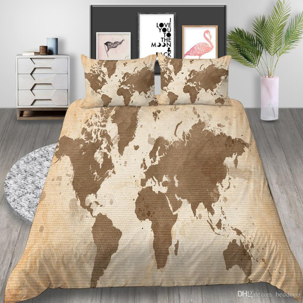 World Map Bedding Set Vintage Soft Creative High End Duvet Cover Queen King  Twin Full Single Double Bed Cover With Pillowcase Gray Comforter Sets ...