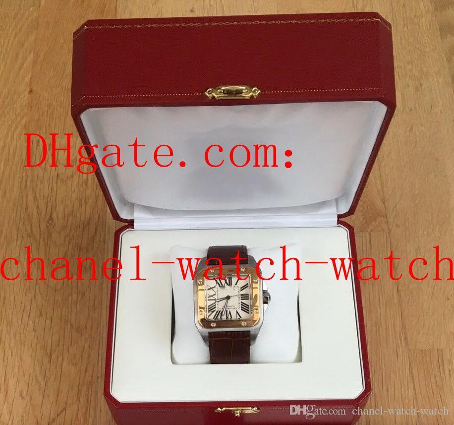 Venda quente de Aço Inoxidável E Ouro 18 K Big White Dial Relógios Automáticos dos homens Dos Homens Esportes Relógio de Pulso Bracelete De Couro Marrom Tem caixa