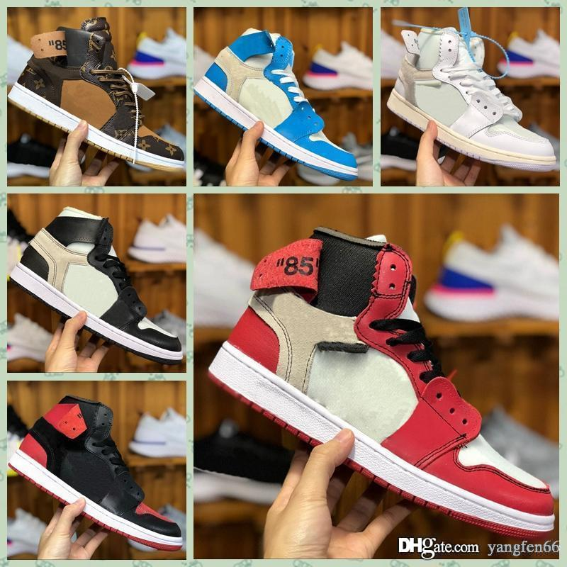 Nike Air jordan 1 x Retro off AJ1 high PreSchool Firmato congiuntamente High OG 1s Youth Kids Scarpe da pallacanestro Chicago New Born Baby Infant Toddler Trainers Scarpe piccole
