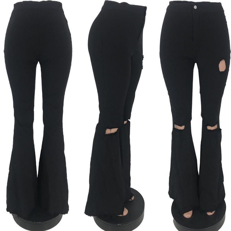 Kadınlar Delikler Jeans 2020 Yeni Moda Şeker Renk Jeans Kızlar Sıska bellbottoms İnce Denim Big Geniş Flared Uzun Pantolon E22704 Yıkanmış