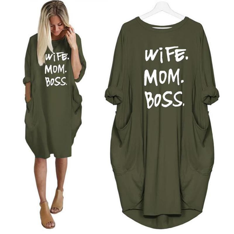 Frau Mom Boss 2019 Sommer-Kleid-beiläufige Frauen-Mode-Weste-Kleid-lange Hülse Sundress dünnes reizvolles Kleid