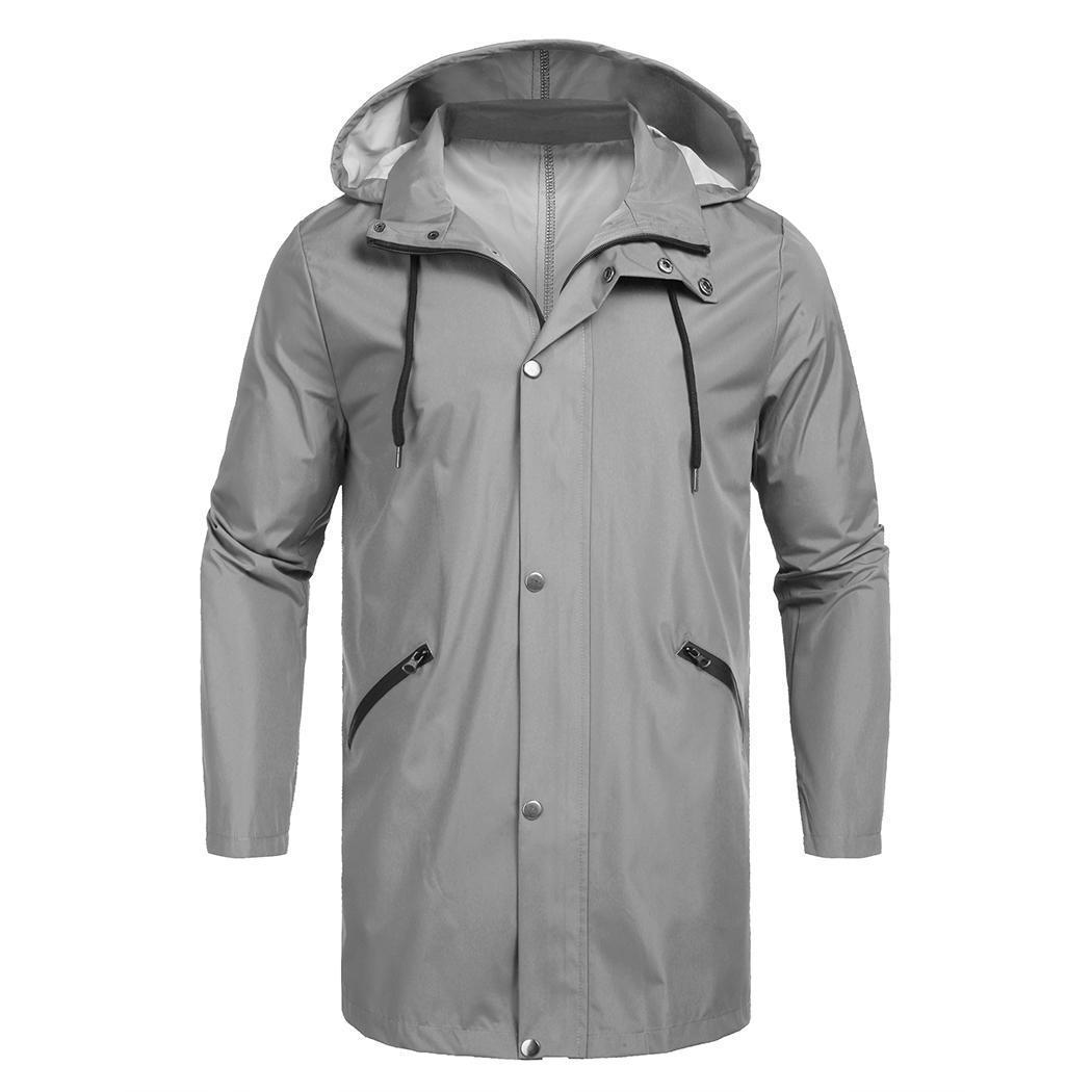 Seasons Long Fashion Button Snap Solido con cerniera solida, manicotto con cappuccio Pioggia Giacca da tasca da uomo Tutto casual nostro