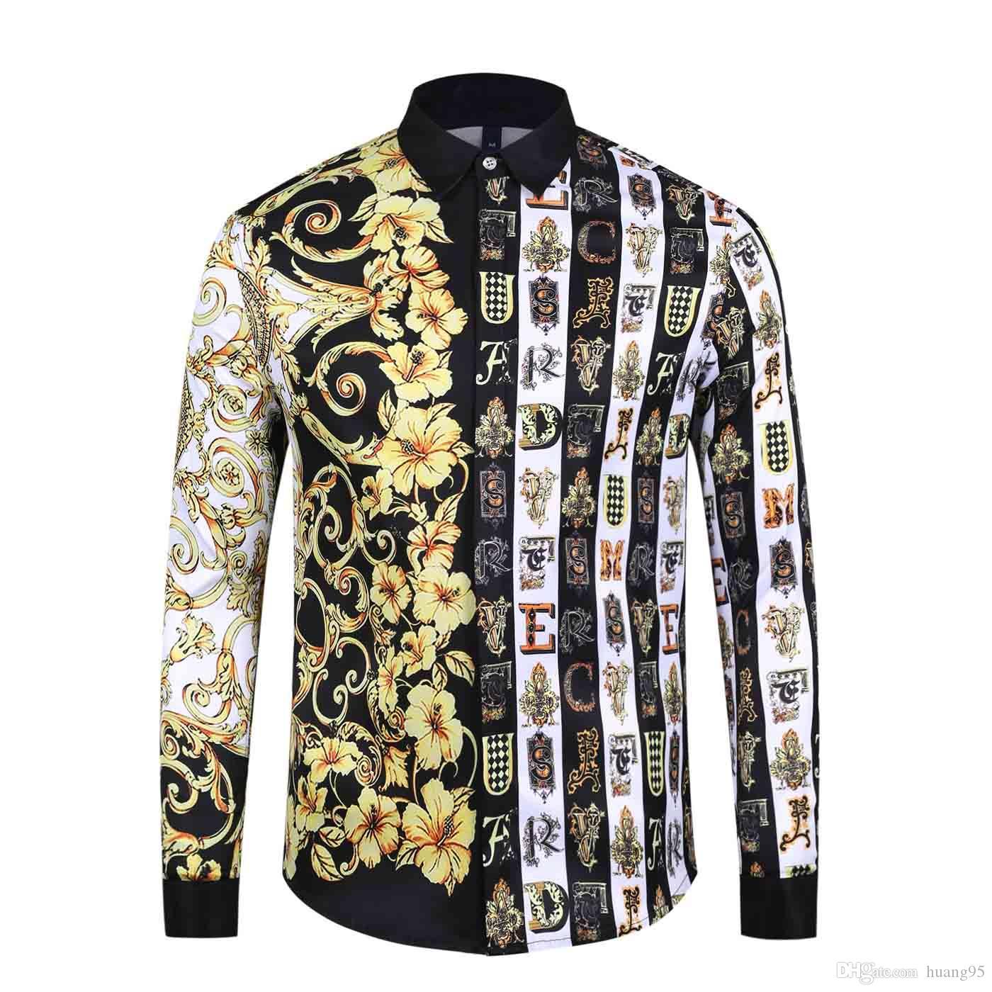 2019 moda masculina con estampado floral color alto grado ocio Harajuku camisa de manga larga color mezcla color masculino camisa Medusa
