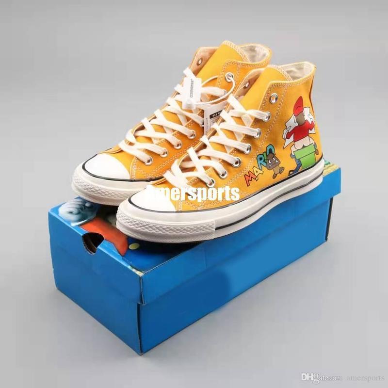 Süper Mario Bros.x Bir Yıldız 1970'ler Sneakers Kadınlar Erkekler Chuck 70 Karikatür Tuval Ayakkabı Boyut 35-44