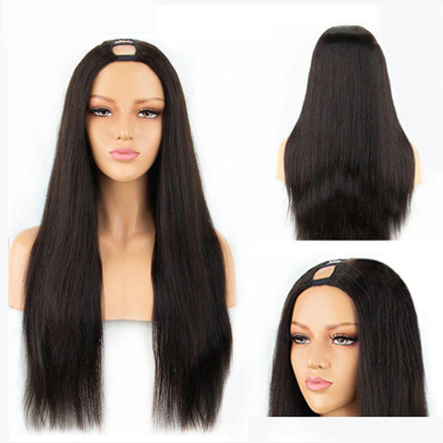 U Part Lace Front Human Hair Wigs Brazilian Straight Human Hair Lace Front Wigs For Black Women u Part Short Human Hair Wigs