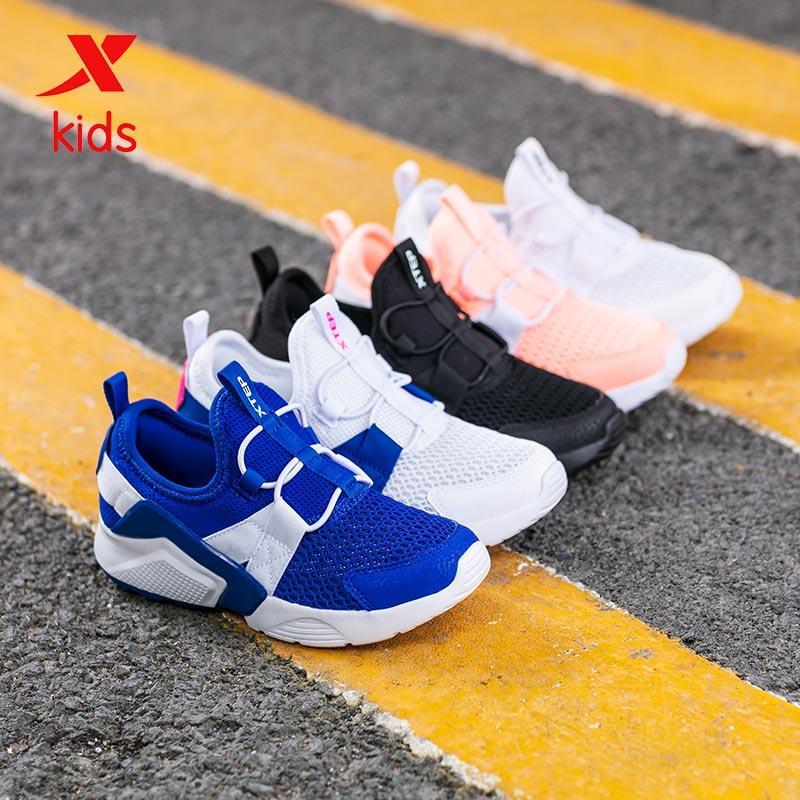 Xtep بنين بنات أحذية الرياضة الموضة عارضة الاطفال تنفس الصلبة لون أحذية رياضية عالية الجودة حذاء الجري 681215329267