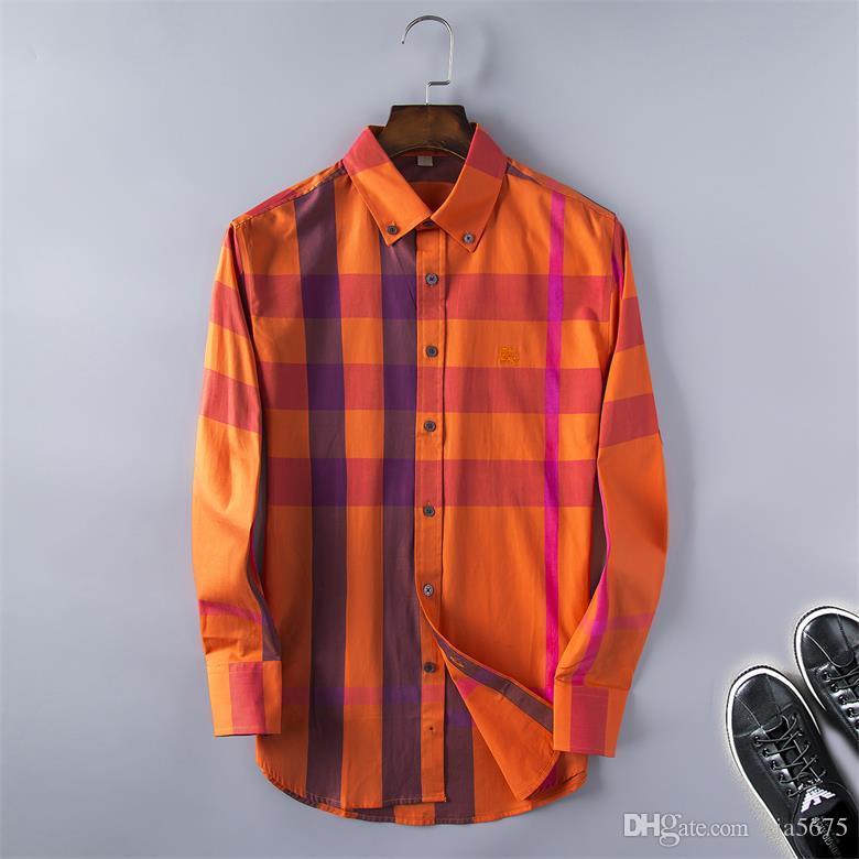 Atacado 2019 nova marca casuais Primavera Outono de manga longa Camisetas masculinas de algodão casuais camisas de vestido dos homens de xadrez de alta qualidade grande tamanho S5