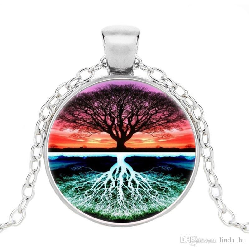 Hot Live Tree Of Life Foto Tibet Cabochão De Prata Pingente De Vidro Cadeia Colar Personalizado presente da jóia