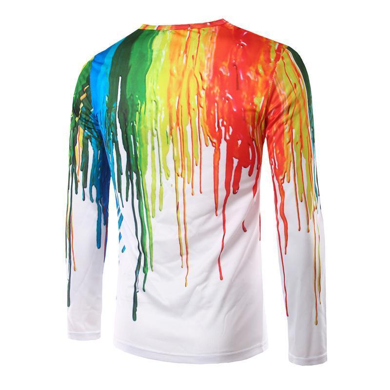 Полиэстер весна осень Мужские футболки повседневные рождественские елки 3d печатные с длинным рукавом мужской тонкий тройник топы мода рок футболки тренд