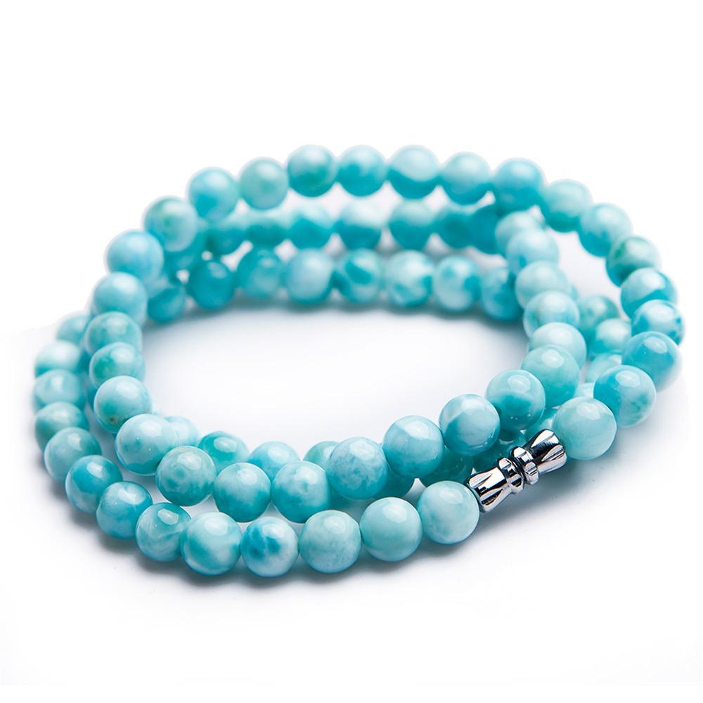 2018 Newly 7mm Natural Larimar Round Beads Crystal Choker Necklace Fashion Women Jewelry Necklaces