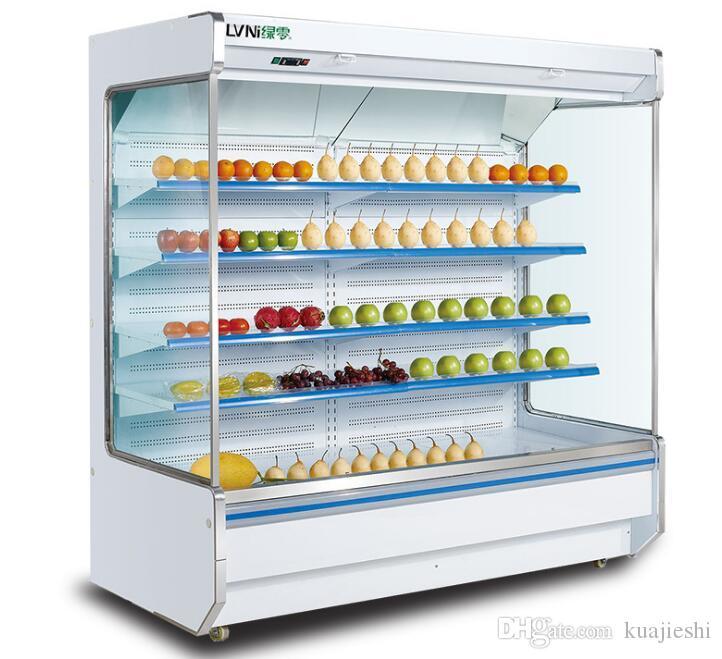 Armadio per cortina d'aria Supermercato grande armadio per bevande a base di latte di frutta e verdura armadio fresco congelatore 2-10 gradi Celsius