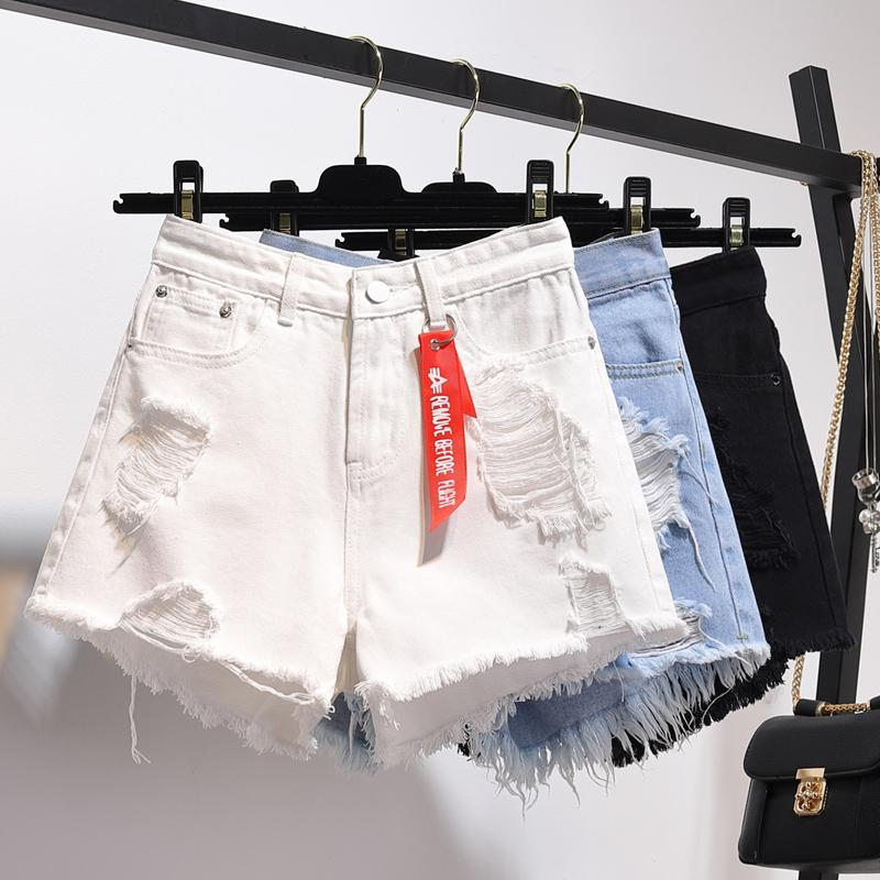 Zqlz Summer High Waisted Denim Shorts Women Plus Size 5xl Loose Hole Tassels Harajuku Hot Pants Sexy Jeans Short Girl Spring