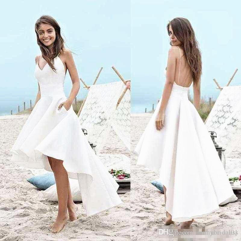 Discount V Neck Backless 2019 Hot Summer Beach Wedding Dress With Pockets Hi Lo Spaghetti Straps A Line Short Front Long Back Simple Bridal Gowns Sweetheart Neckline A Line Wedding Dress Wedding,Formal Dresses For Wedding Guest Plus Size