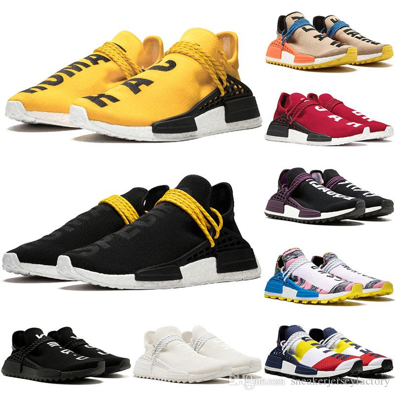 Adidas بالجملة 2019 فاريل وليامز سباقات سباق الإنسان R1 الرجال للتنس الاحذية امرأة الأصفر المدربين الأساسية الأسود الطالب الذي يذاكر كثيرا الأسود أحذية رياضية 36-47