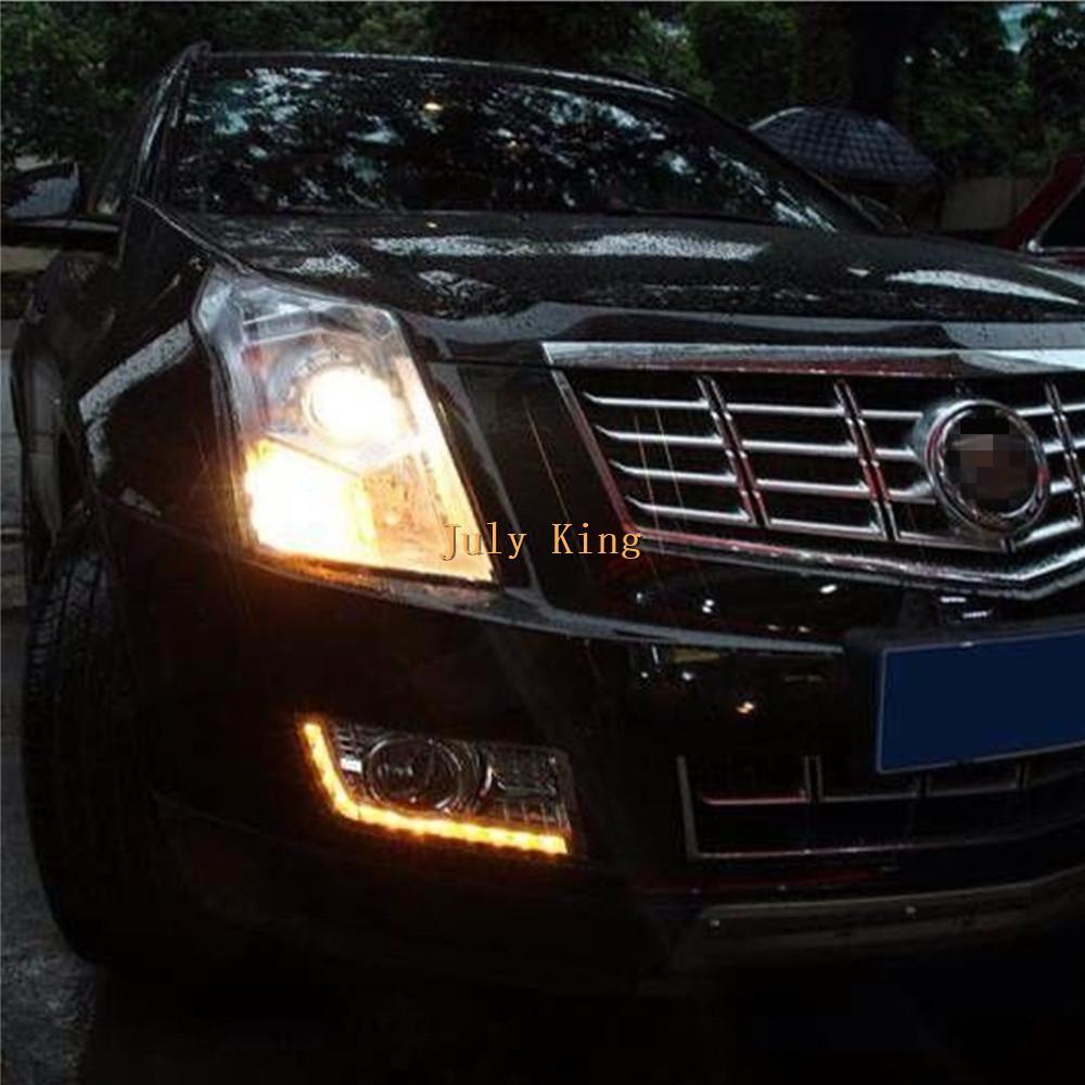 Sarı açın ile Lights Running Temmuz Kral LED Gündüz Işık İçin Cadillac SRX 2010-2015 LED DRL ile elektrolizle Sis Lambası Kapağı Sinyalleri