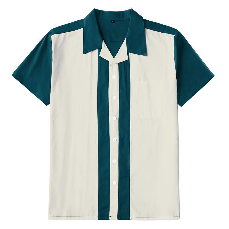 Vintage Western Punk Shirts Men Retro 1950s Rockabilly Shirt Casual Short Sleeve Patchwork Rolling Rock Shirt Mens US size
