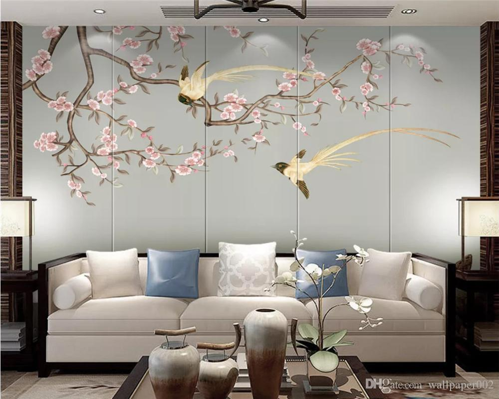 Custom white magnolia flower bird hand-painted wallpaper new Chinese style decoration painting papel de parede 3d wall papers home decor