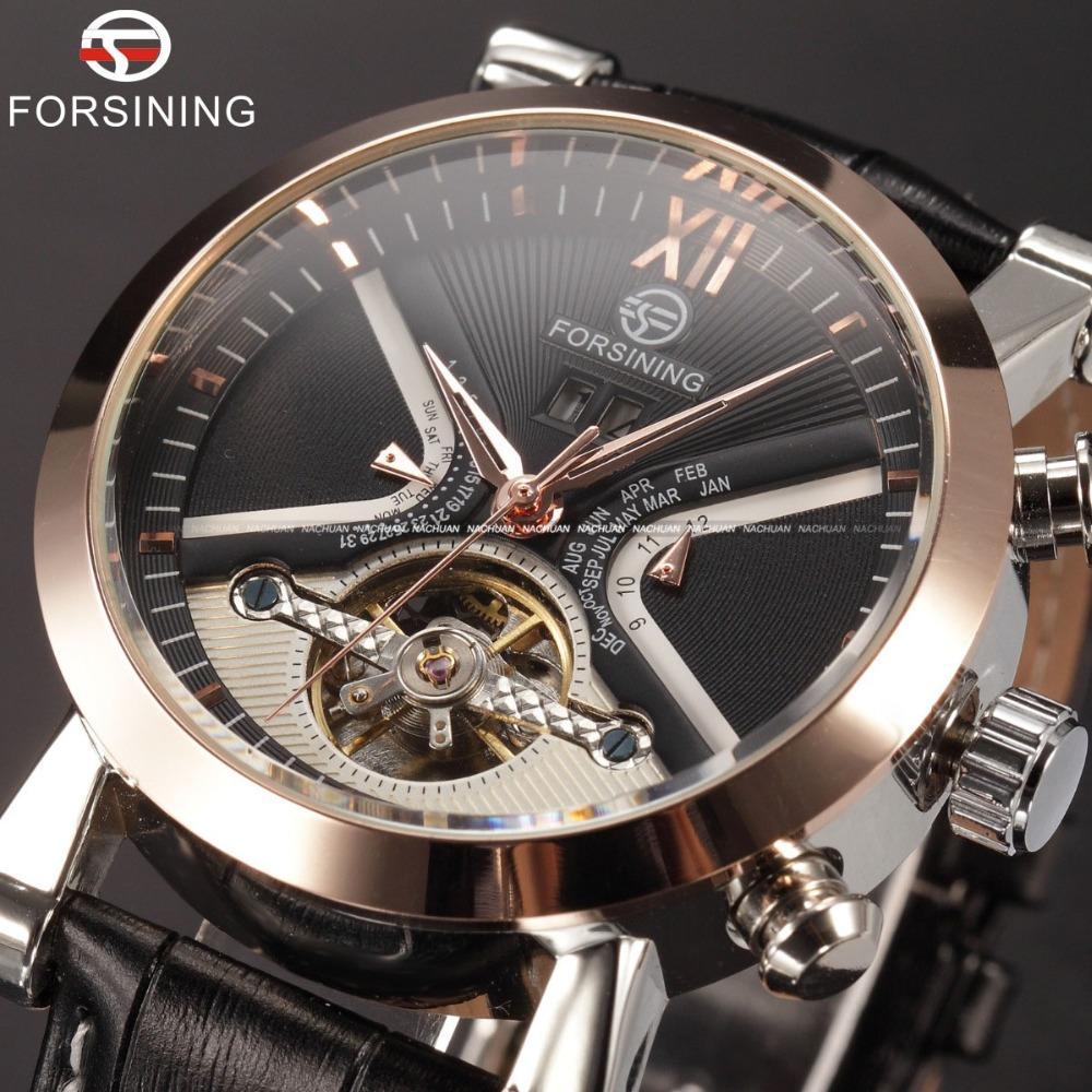 Projeto clássico Tourbillion Forsining Exibição de Calendário de Ouro Bezel Couro relógio automático dos homens Relógios Top Marca de luxo