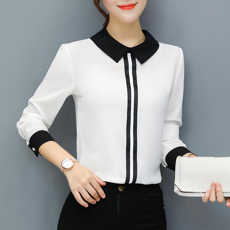 Kadın Yaz Bluz Yaz İlkbahar Bluzlar Ofis Çalışması Şifon Gömlek Kırmızı İnce Bluz Tops Casual Uzun Kollu Artı boyutu Beyaz Gömlek