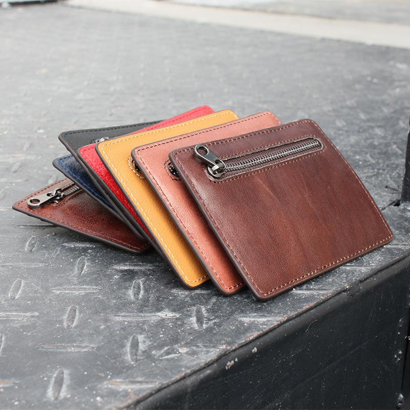 Distinctive2019 Cowhide Layer Head But Men And Women Fund Solid Color Card Genuine Leather Small Change Hand Take Package