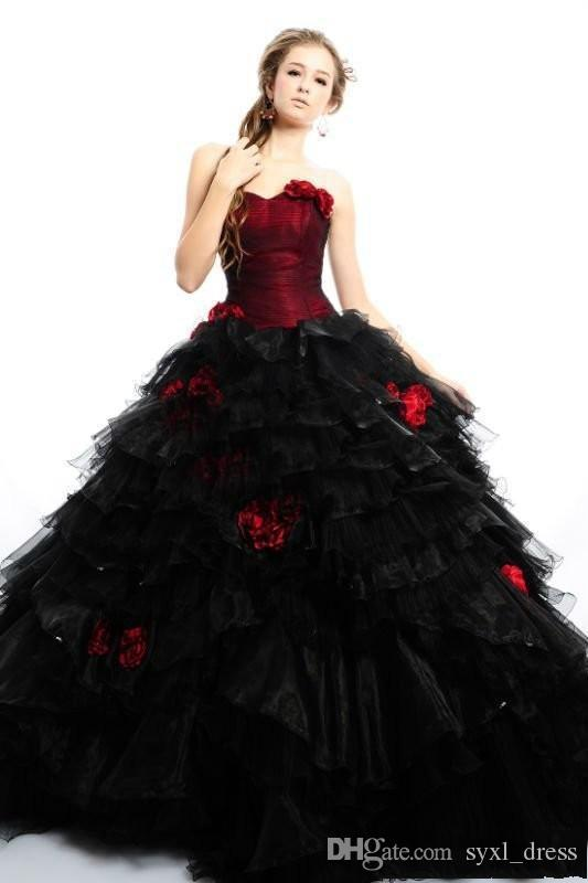 2019 Vintage Burgundy Gothic Plus Size Ball Gown Wedding Dresses Bridal Gowns Strapless Flowers Black and Red Tulle Halloween Party Dress