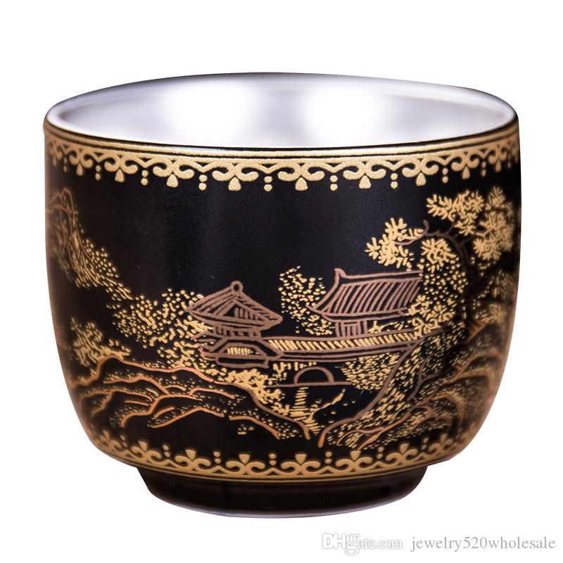 999 Gümüş Master Kupası Seramik Çay Fincanı Gümüş Kungfu Teaware Tek Fincan Eklemek Gümüş Çay Bardağı