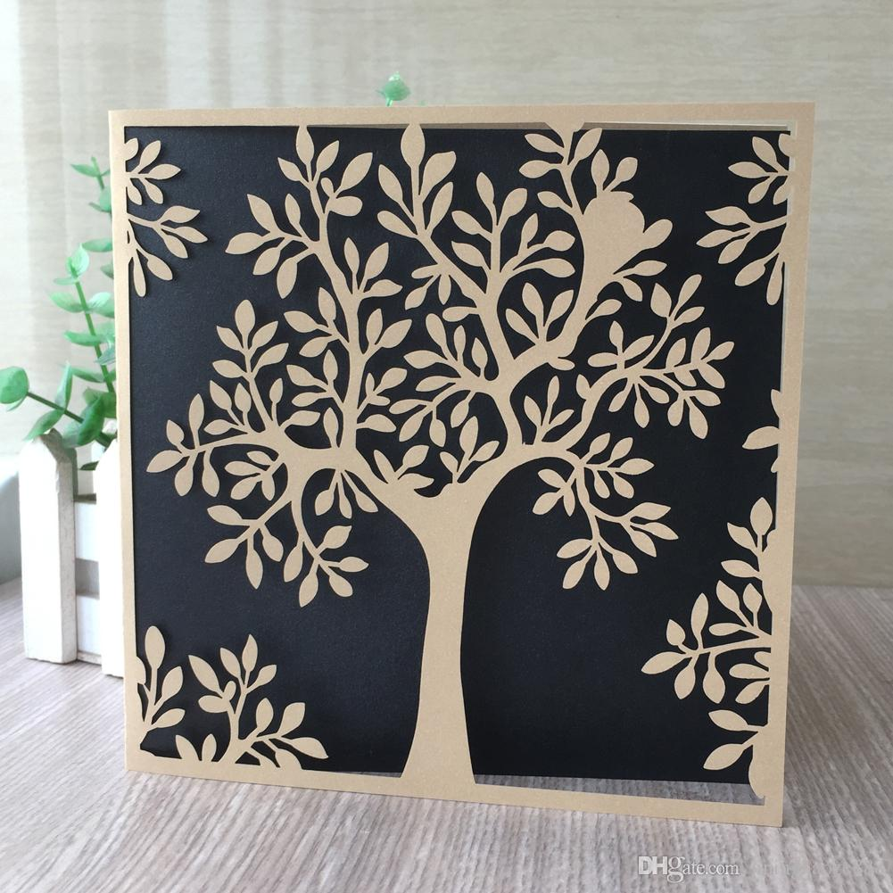 45PCS /lot Hollow Laser Cut Pearl Paper Wedding Engagements Anniversary Birthday Party Universal Greeting Cards Invitations Supplies