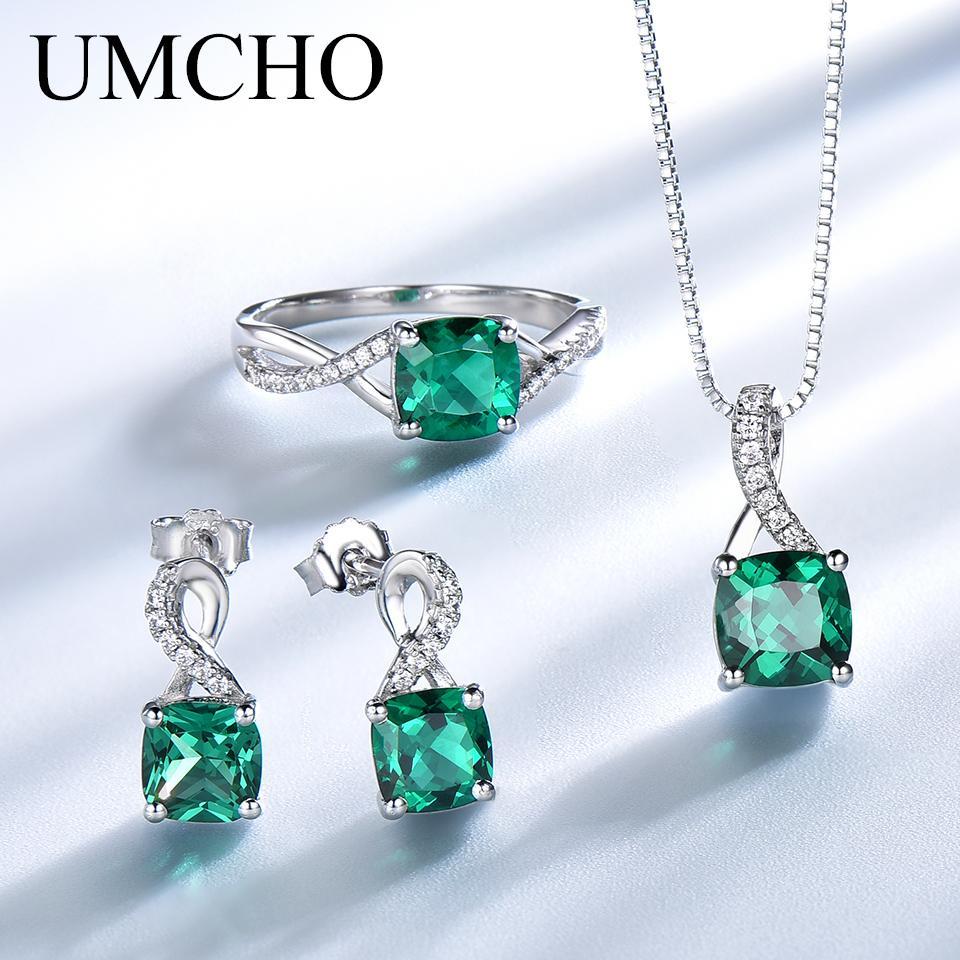 UMCHO elegante argento sterling 925 collane anelli orecchini Piazza Creato Emerald Wedding regalo per le donne Belle Parure