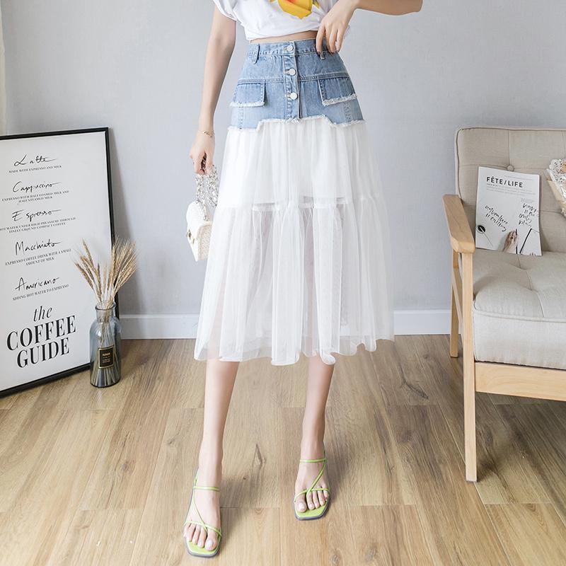 Falda malha Patchwork Denim Saias Womens cintura alta Mid-comprimento A-line Cowboy saia branca coreana Estilo Harajuku Jupe