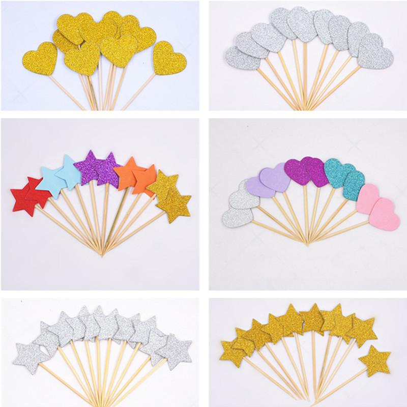 40pcs Cake Flag Golden Heart Star Cupcake Toppers Baby Shower Birthday Party Decorations Kids Wedding Decoration Cake Toppers Y200618