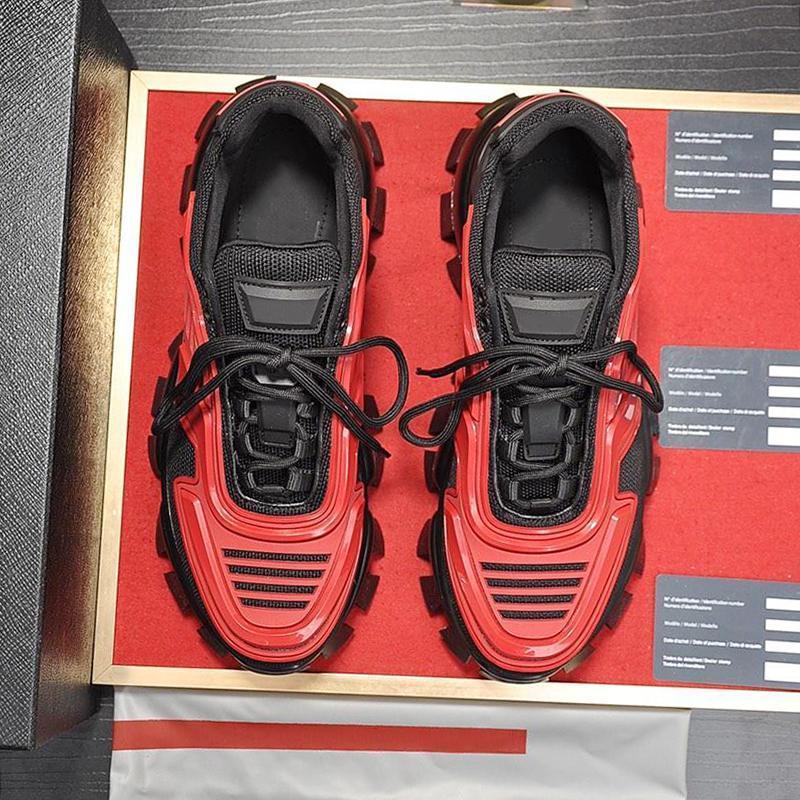 Los nuevos hombres de los zapatos ocasionales Cloudbust trueno de punto zapatilla de deporte de los hombres zapatos de suela de goma Chaussures vierten Hommes Moda Footwears más el tamaño de gota de la nave L02