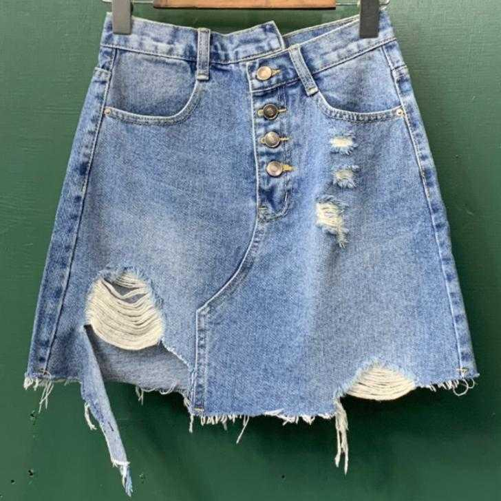 отверстие джинсовой короткой юбке лета женщин высокой талии свободно свободно однобортный Трапеция юбка