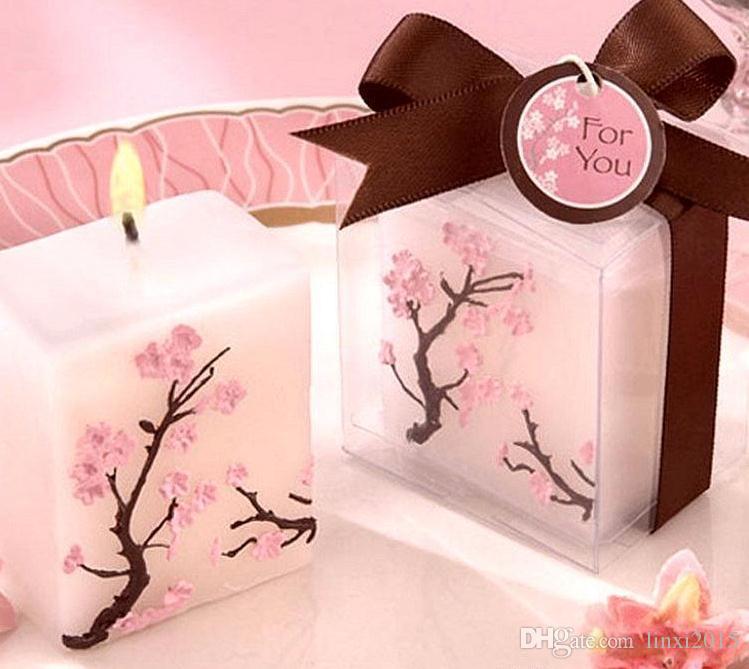 100pcs Bougies de mariage sans fumée parfumée cire de fleurs de cerisier Bougie Cadeaux de mariage Présenter Favors Party Decoration SN409
