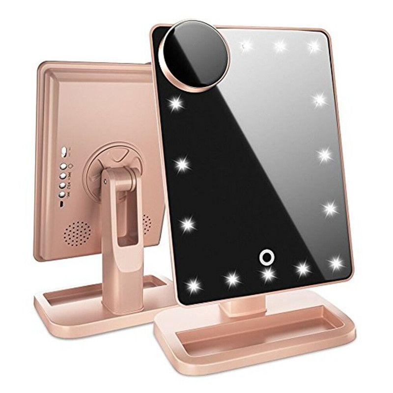 محفظة 5pcs 180 درجة دوران 20 LED تعمل باللمس ماكياج مرآة بلوتوث رئيس 10X عدسة أضواء مرايا أداة الجمال والشحن مجانا