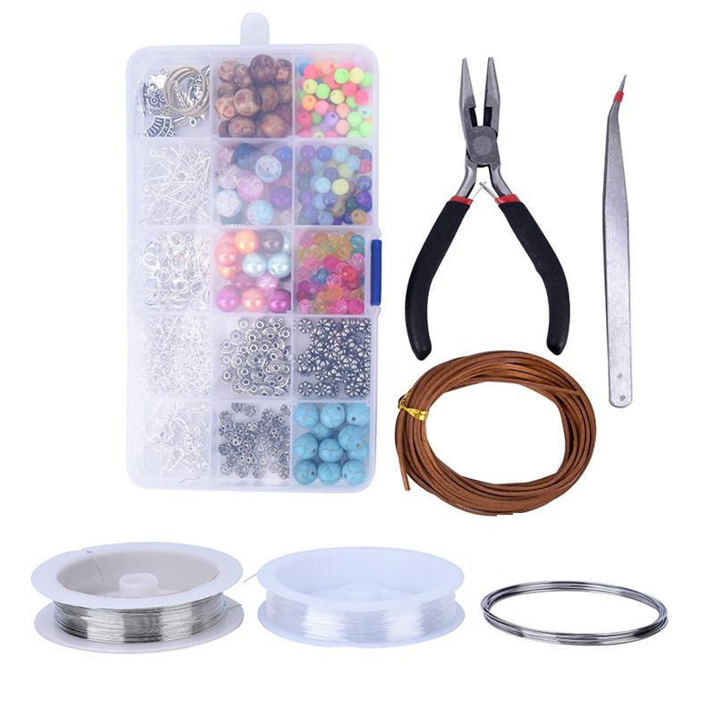 1 Set Large Jewelry Making Kit Starter Tool Pliers Set Silver Beads Findings Threads Jewelry Making Tool