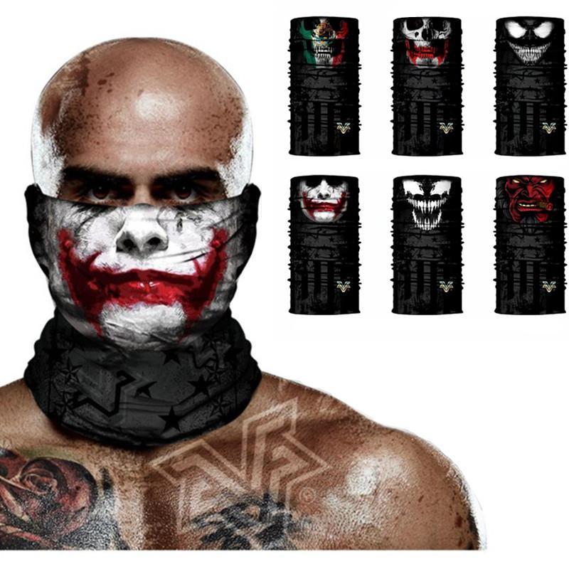 Venom Crânio Joker Rosto Cachecol Bandana Ciclismo Proteção UV Correndo Máscaras Ciclismo Esquiar Camping Neck Warmer Neck Tubo Carneiras