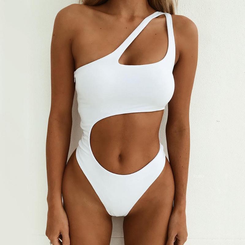 Traje de baño para mujer Sexy un hombro de un hombro Traje de baño Blanco Mujeres 2021 Hueco hacia fuera Monokini Push Up Trikini Body Traje de baño de damas