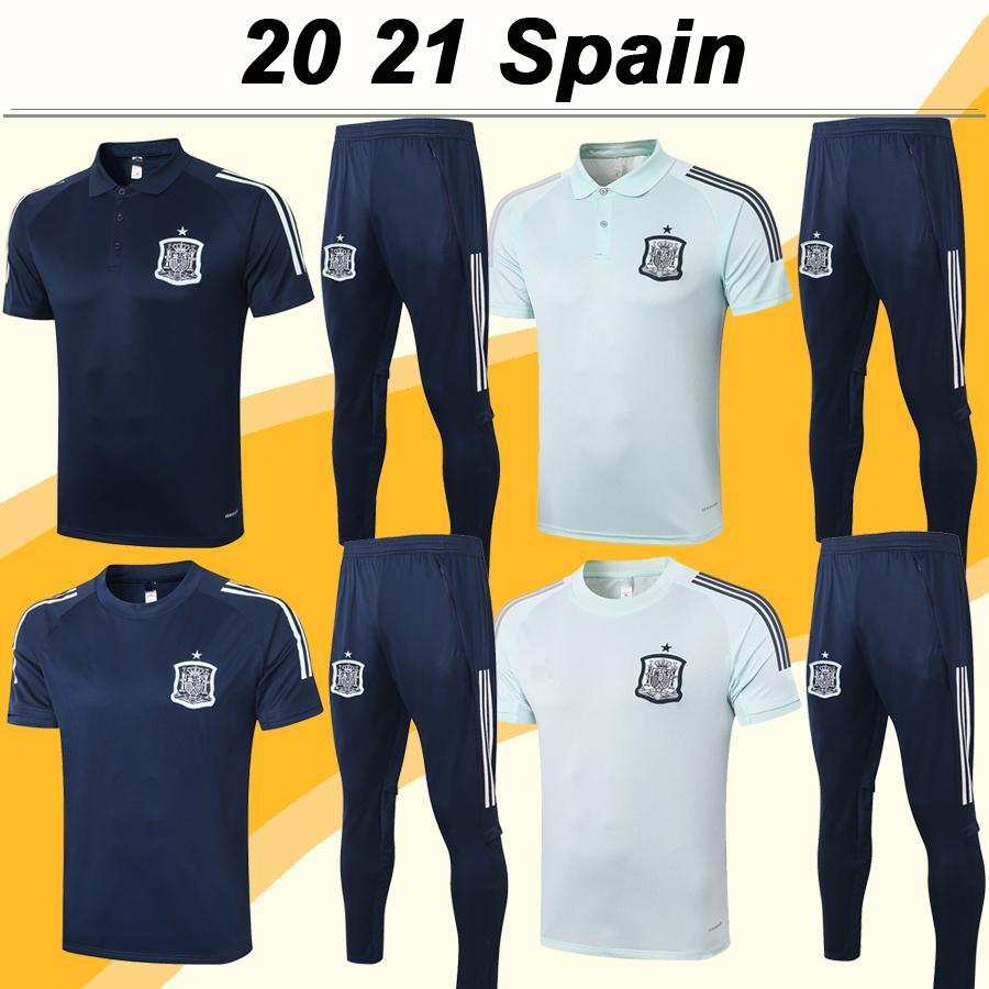 2020 A. INIESTA Maillots de football Hommes CITP DIEGO COSTA Polo Costume Espagne ASENSIO PIQUE Light Sapphire shirt bleu de football Uniformes à manches courtes