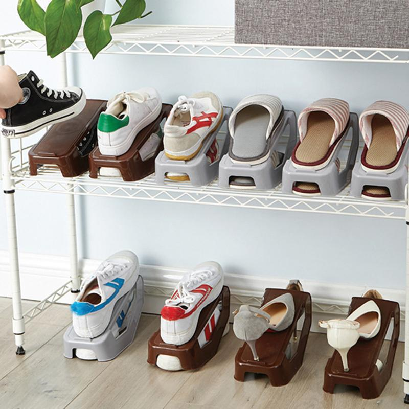 1pc Shoe slots de armazenamento dobrar a capacidade de economia de espaço Plastic Shoes Organizador pé antiderrapante projeto sapatas de lona armazenamento Rack