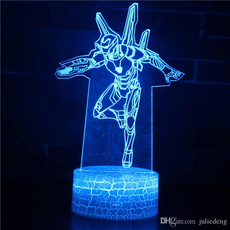 Regalo in camera luce decorativa 3D Iron Man Cartoon Character Table Night Lights bambini per bambini lampada Luminaria RC LED