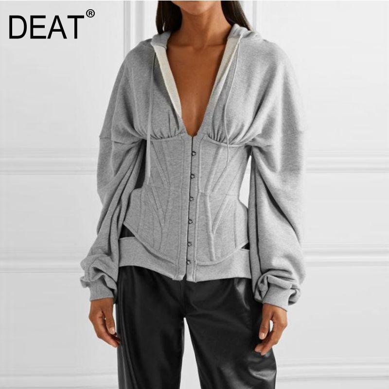 DEAT 2020 new spring fashion runway street styles hooded button back bandage high waist sweatshirt female top WK71302L