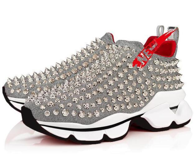 2020 Caja original inferiores del rojo de piel de cristal de las zapatillas de deporte para hombre zapatos de las mujeres del remache de punta menor de Spike calcetín Krystal Donna inferior rojo