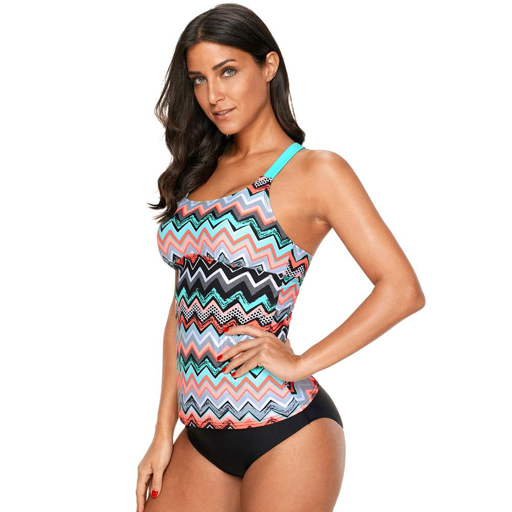 Pa Meng Womens Swimsuit Coral Zigzag Impresso One Piece Tamanho Grande Swimsuit Top 410603