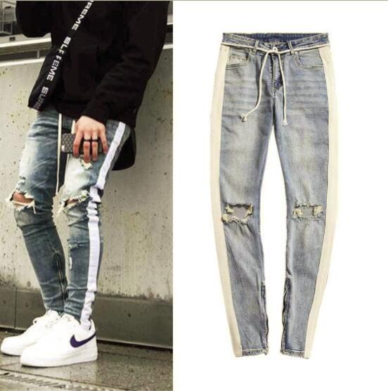 85f846f8c6a Gingtto Skinny Jeans Men Ripped Black Side Stripe Jeans Stretch Slim Fit  Elastic Biker Male Big