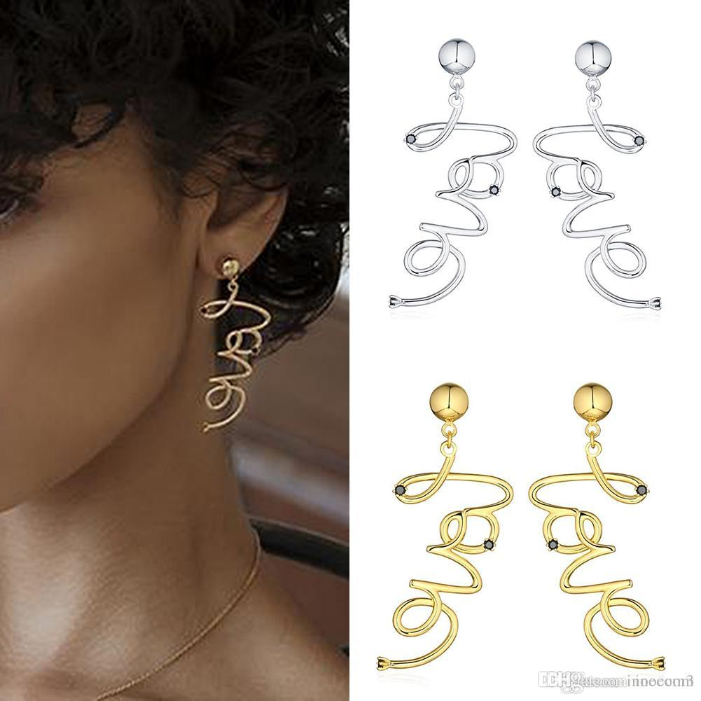 Koreanisch mode liebesbrief ohrringe für frauen gold silber farbe schwarz strass legierung aussage ohrring schmuck
