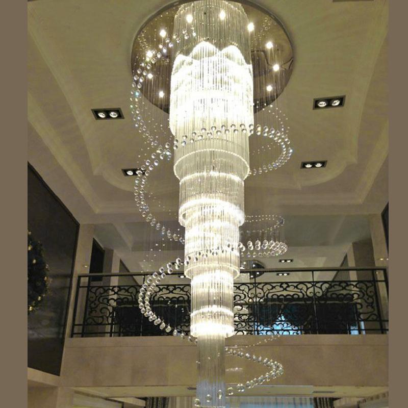 ضوء الثريا ذات الثريا الطويلة الزجاجية الكبيرة من أجل إضاءة فندق lustres de cristal LED stair light