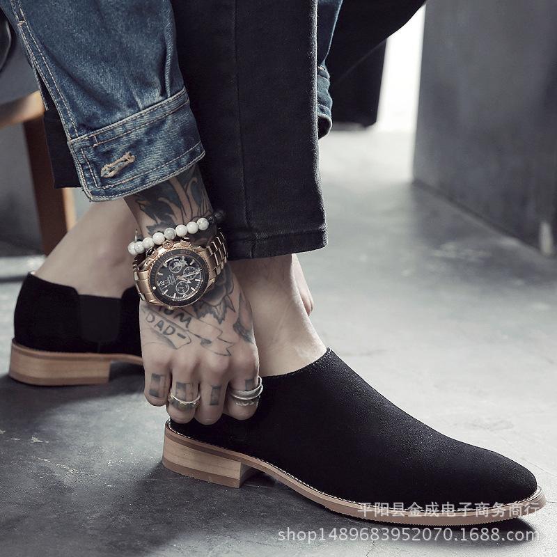 Kayma-On Özlü Düşük Boots Erkekler Elbise Bilek Moda Sivri Burun Dikiş Boots Özlü Katı Kış Motosiklet Ayakkabı