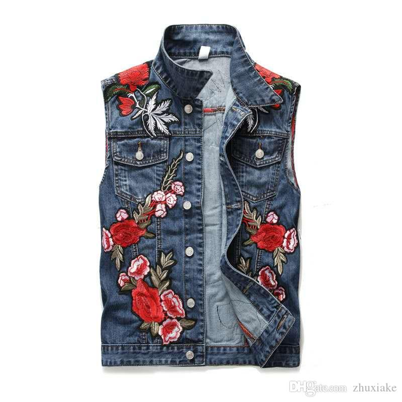 2019 Moda Luxo Mens Outono Inverno Mulheres Europa Paris Inwrought estilo floral Jeans Vintage Jacket rua Colete